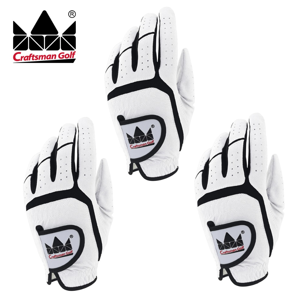 Craftsman golf 3 Pack Golfer White Glove Men's Gloves Breathable By Craftsman Universal Size LH For Right Handed Golfer