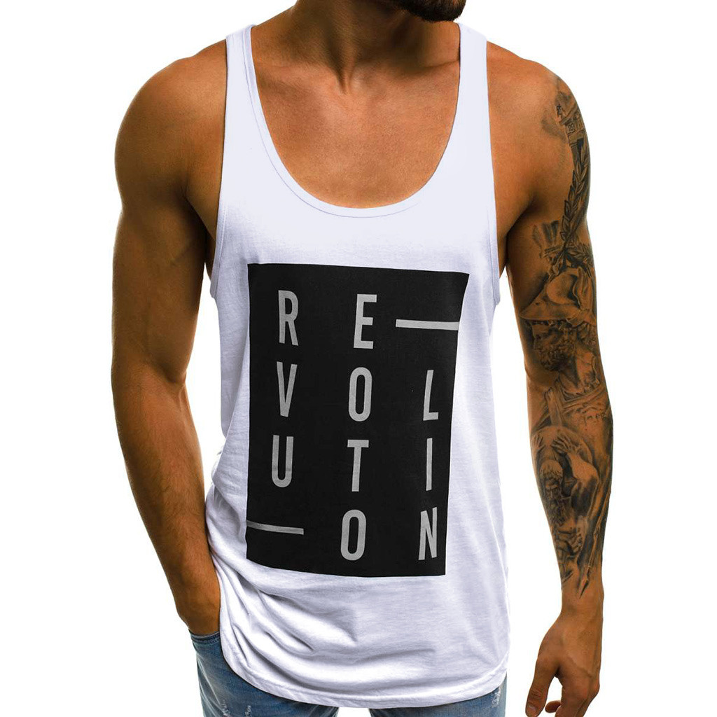 Tank Top 2019 Men Gym Streetwear Letter Print Mens Clothing Men Bodybuilding Clothes Fitness Clothing Tanktop Casual Tank Tops