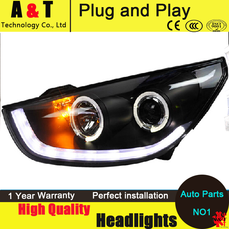For Hyundai IX35 led headlight assembly Angel eyes Tuscon head lamp 2010-2013 led drl H7 with hid kit 2 pcs. hireno headlamp for 2016 hyundai elantra headlight assembly led drl angel lens double beam hid xenon 2pcs
