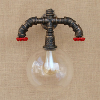 Retro Loft Water Pipe Industrial Vintage Wall Lamp Home Lighting Glass Ball Wall Light E27 Edison Bulb Sconces Appliques Murales
