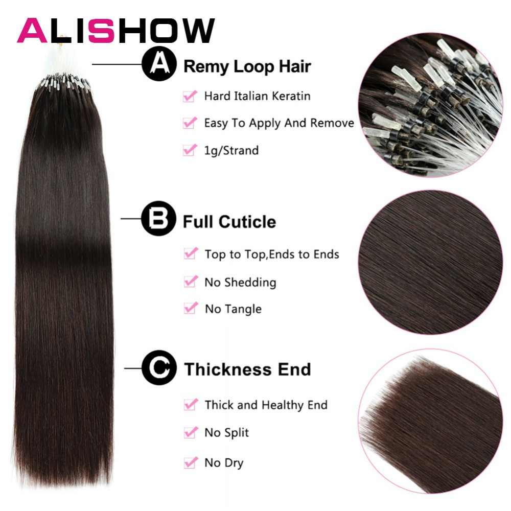 Alishow Straight Loop Micro Ring Hair 1g/s 50g/pack 100% Human Micro Bead Links Remy Hair Straight Extensions
