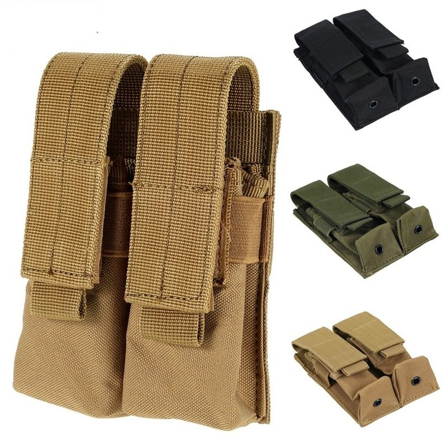 CQC Molle System Tactical Pistol Double Magazine Pouch Molle Clip 9MM Military Airsoft Mag Holder Bag Hunting Accessories 1