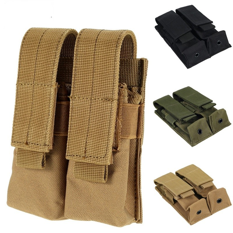 CQC Molle System Tactical Pistol Double Magazine Pouch Molle Clip Military Airsoft Mag Holder Bag Hunting Accessories