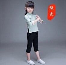 Han Chinese childrens costume cotton children autumn style retro Children Tang suit  girl hanfu green pink red