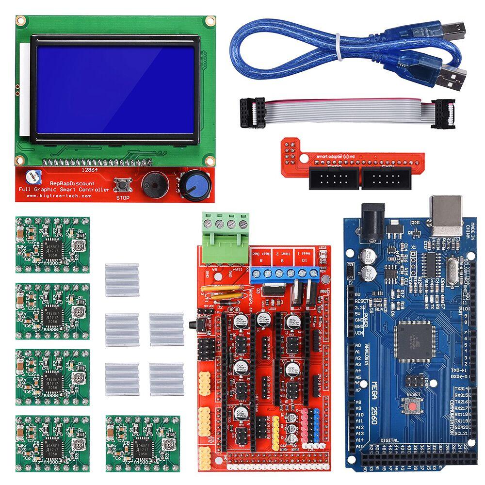 3D Imprimante Kit Mega 2560 R3 Board Control Ramps 1.4 Carte Mère 12864 LCD Panneau A4988 Moteur pas à pas Pilote Pour 3D imprimante Pièces