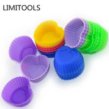 6PCS Soft Silicone Cake Muffin Chocolate Cupcake Bakeware Baking Cup Mold 3/7cm