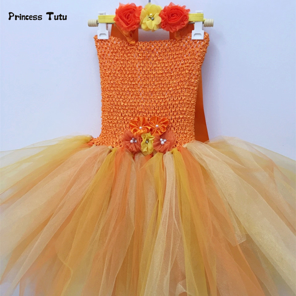 Gold Princess Tutu Dress Girls Vestido Wedding Flower Girl Dresses Kids Halloween Costume Girl Dance Birthday Party Tulle Dress fancy girl mermai ariel dress pink princess tutu dress baby girl birthday party tulle dresses kids cosplay halloween costume