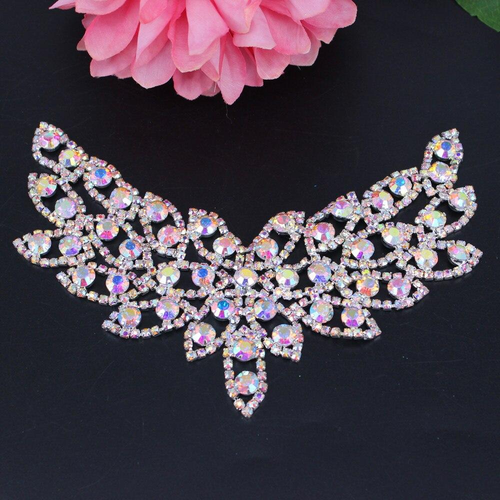 Silver AB Sweet Heart Collar Rhinestone Applique Sew-on Bridal Sash Applique Neckline Shape Adornment For Wedding Dress Addition
