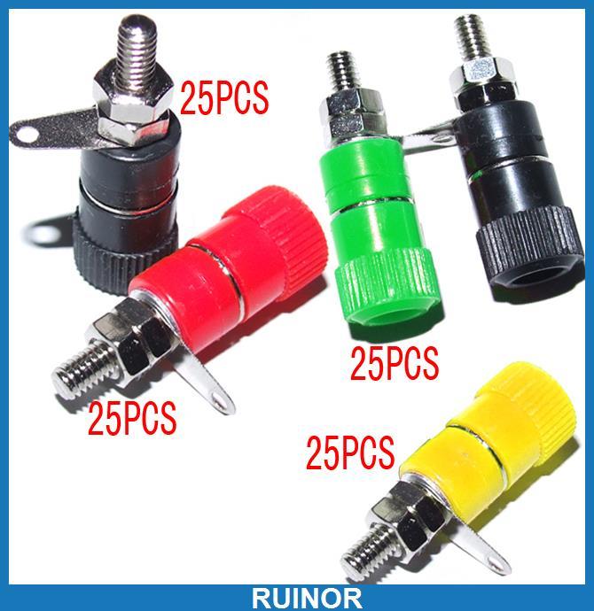 ФОТО 100pcs 4 Color Binding Post for Banana Plug Test Probes