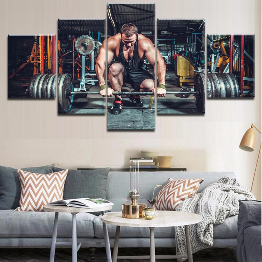 Home Decorative Bedroom Or Living Room 5 Panel The Strong Man Llift Barbell Poster Sports Painting High Quality Canvas Art Print