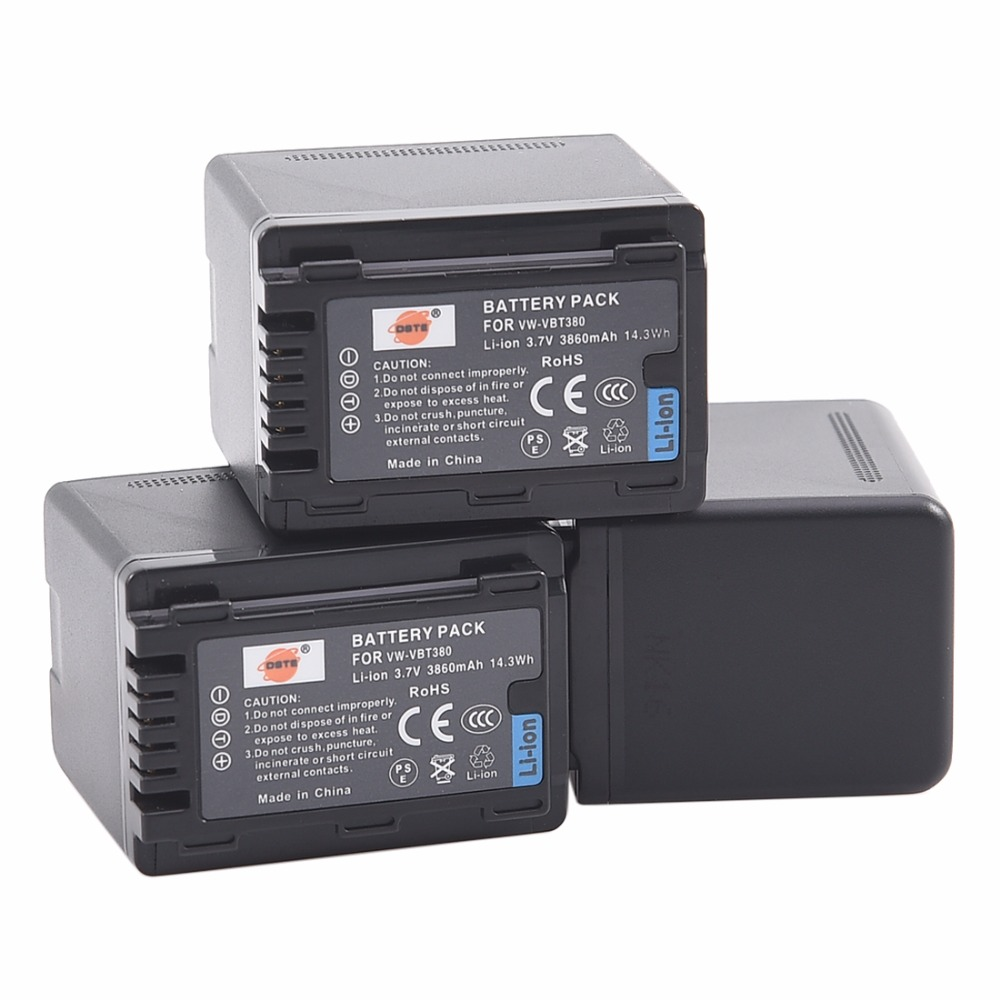 DSTE 3PCS VW-VBT380 Li-ion Battery for PANASONIC HC-W580GK HC-V160GK HC-V380GK HC-V180GK HC-W580MGK HC-VX980GK HC-WXF990MGK super star korea stylish man casual watch leather strap big dial fashion quartz wrist watch popular unique pattern couple clock