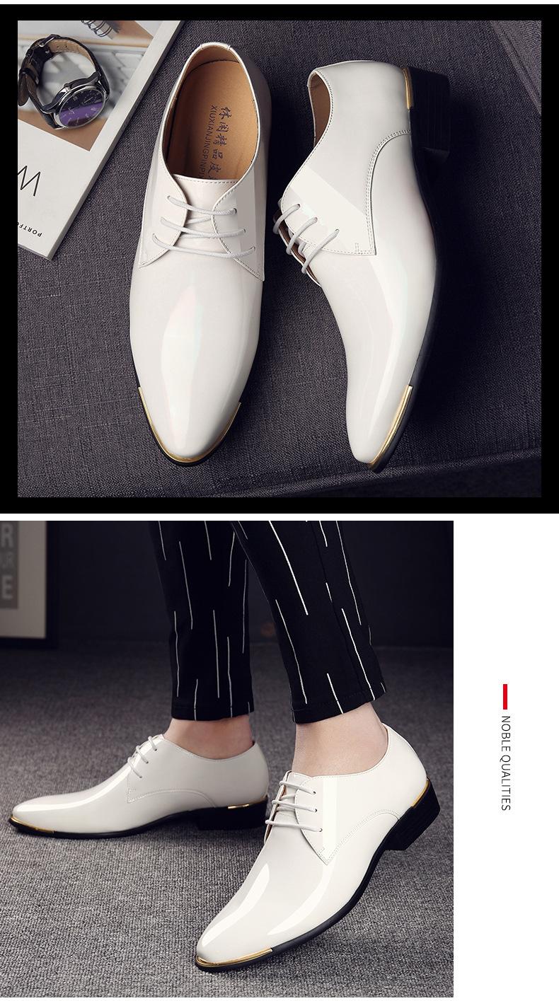 2019 Autumn Men`s Business Suit Leather Shoes Pointed Wedding Shoes for Men Oxfords Patent Leather Men Flat Dress Formal Shoes