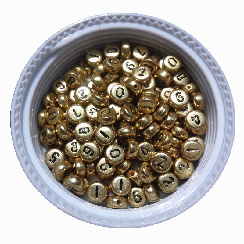 3600PCS/Lot 4*7MM Flat Round Shape Gold Color Acrylic Plastic Coin Number 0-9 Beads Flat Round Jewelry Bracelet Beads 500pcs bag 13 18mm flat back oval shape acrylic rhinestones acrylic plastic 3d nail art garment jewelry rhinestone