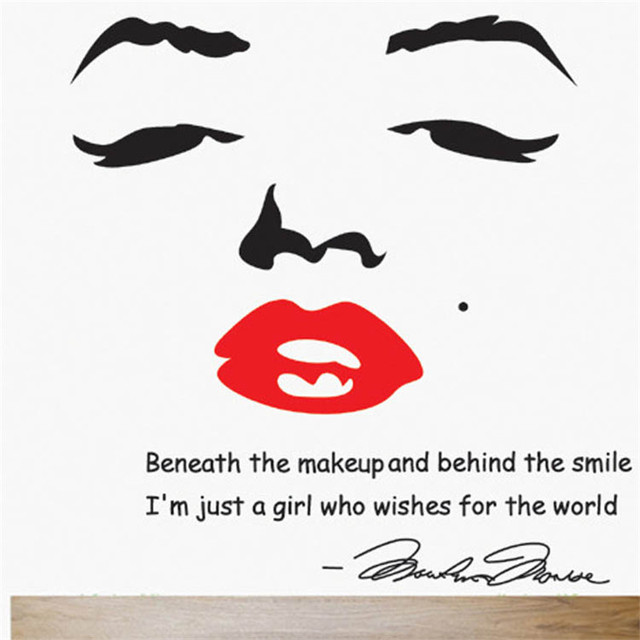 Marilyn Monroe Wall Decal Removable Art Home Decor Quote Face Red Lips Wall  Sticker Large Nice