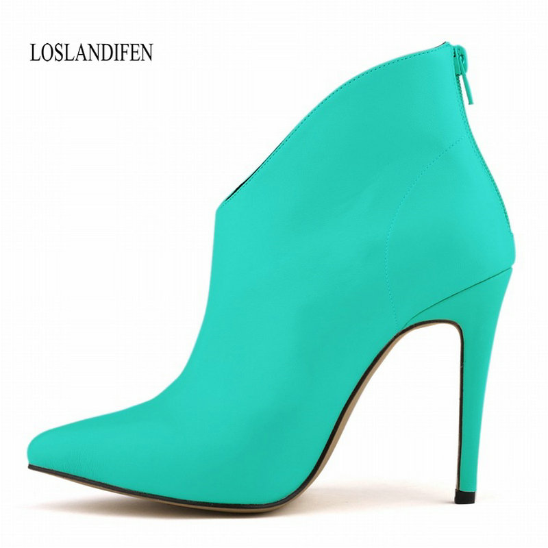 LOSLANDIFEN Brand women boots elegant Candy color leather shoes woman Autumn ankle boots pointed toe buckle high heels boots creativesugar elegant pointed toe woman