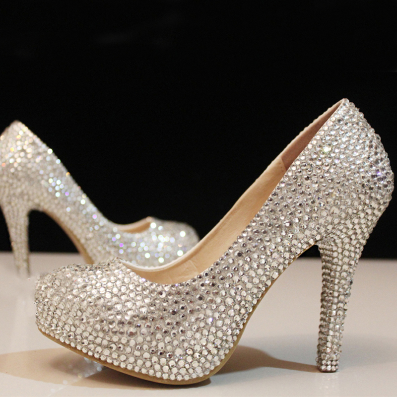 ee81d6094 Free Shipping wedding shoes crystal shoes women high heels rhinestone high  heel shoes platform pumps 4 Inches Party prom heels-in Women's Pumps from  Shoes ...