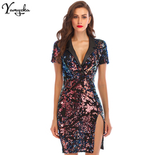 Fashion Sexy Sequin Summer Dress Women Vestidos 2018 Notched V neck Colorful Bling Luxury Nightclub Womens Party Dresses