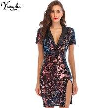 Fashion Sexy Sequin Summer Dress Women Vestidos 2018 Notched V neck Colorful Bli