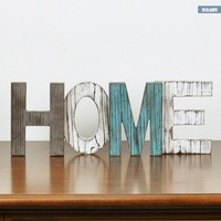 Rustic Wood HOME Decorative Sign, Standing Cutout Word Decor, Multicolor 16.5x6 inch