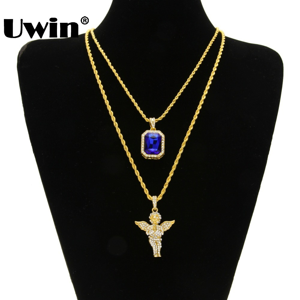 Men's Iced Out Hiphop Mini Red Blue Black Stone Pendant And Mini Jesus Head Bling Baby Angel Piece Wings Penadnt Necklace Set