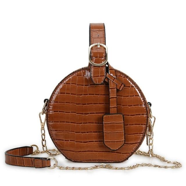 Fashion Women Circular Bag Alligator Female Chain Shoulder Bags Crossbody  Messenger Bag Patent Leather Round Circle
