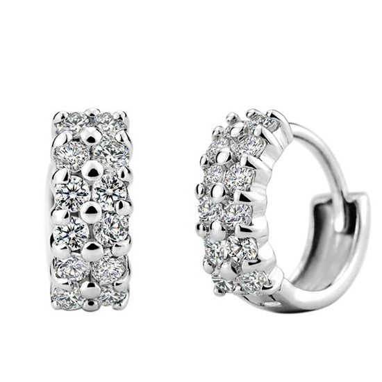 SHUANGR New Design Fashion Charm Austrian Crystal Hoop Earrings Geometric Round Shiny rhinestone earring Women Jewelry