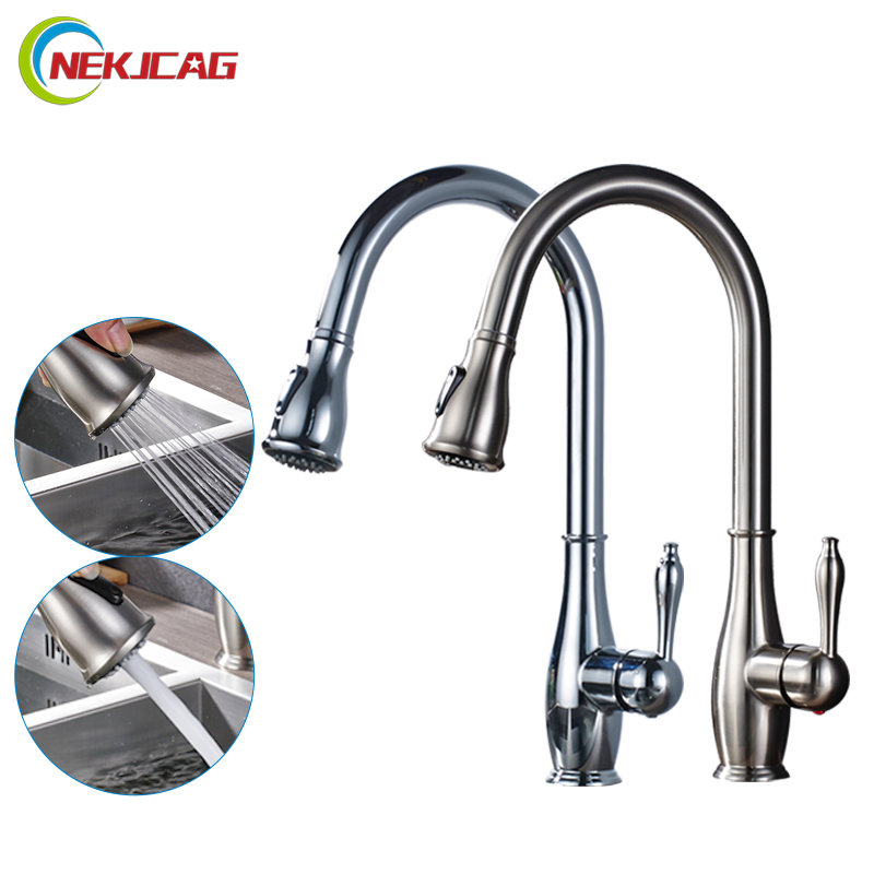 Chrome Brushed Nickel Faucet Finish Pull Out Kitchen Faucet Single Holder Single Hole style luxury pull out chrome brushed nickel finish kitchen faucet mixer single hole deck mounted