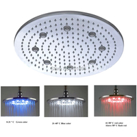 Retail 16 Inch Stainless Steel Rain Shower Head Led, Color Changed without Battery, Free Shipping X15390