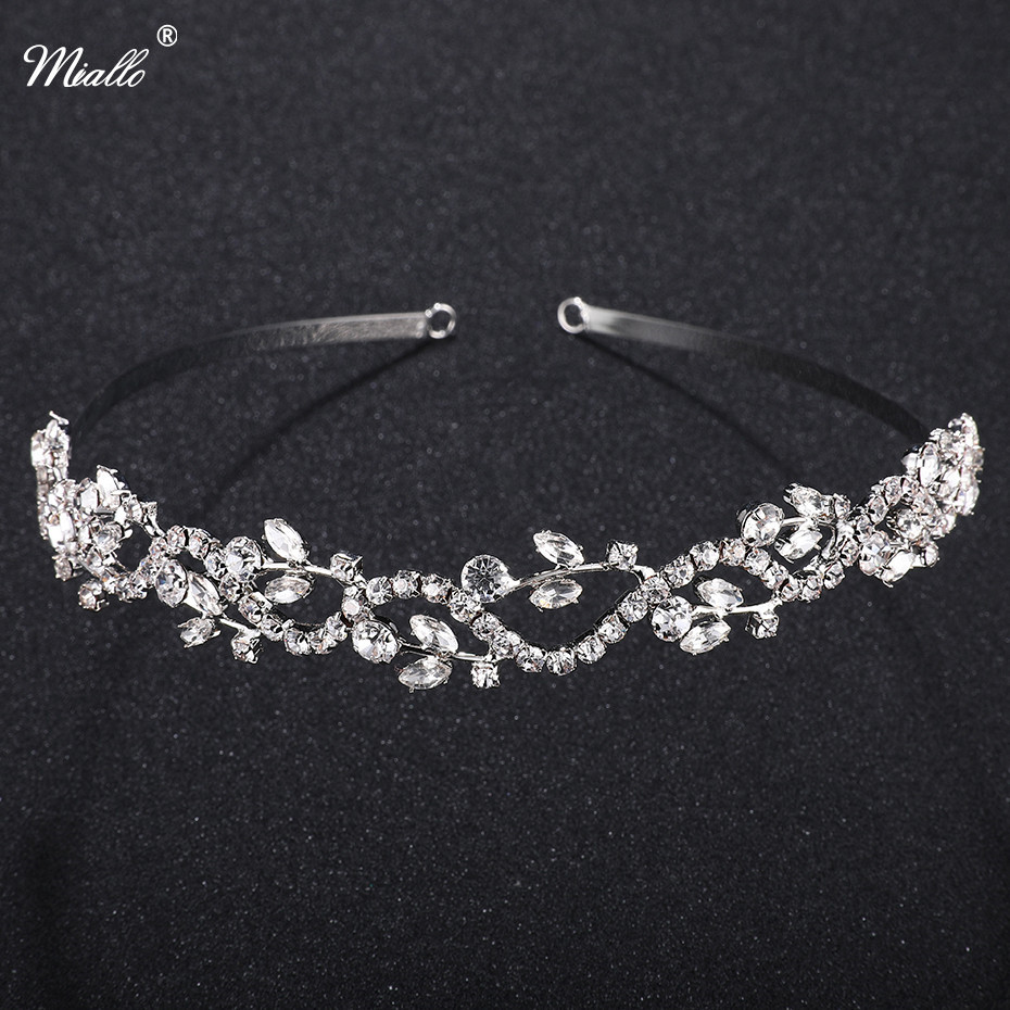 Miallo Wedding Tiaras Bridal Hairpins Rhinestone Girls Headband Silver Leaves Crystal Crowns Accessories Jewelry Rim for Hair