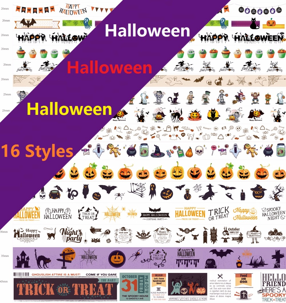 16 Styles Halloween/Skeleton/Skull/Bat/Ghost Pattern Japanese Washi Decorative Adhesive Tape DIY Masking Paper Tape Sticker gift 1roll 35mmx7m high quality coffee shop buildingr pattern japanese washi decorative adhesive tape diy masking paper tape sticker