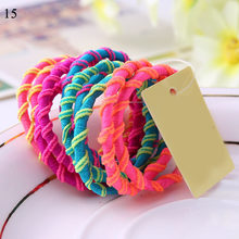 10PCS/Lot Girls Fashion Color Elastic Hair Band Lovely Kids Children Hair Ropes Hair Accessories Mix Rubber Bands Headwear(China)