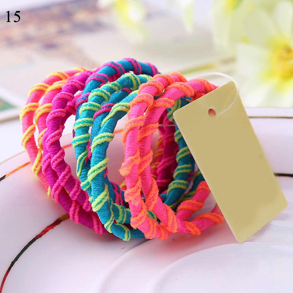 10PCS/Lot Girls Fashion Color Elastic Hair Band Lovely Kids Children Hair Ropes Hair Accessories Mix Rubber Bands Headwear