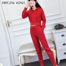 Autumn Knit Tracksuit Women Casual Long Sleeve Short Crop Top And Drawstring Pants Two Piece Set Workout Sporty Suit Female недорого