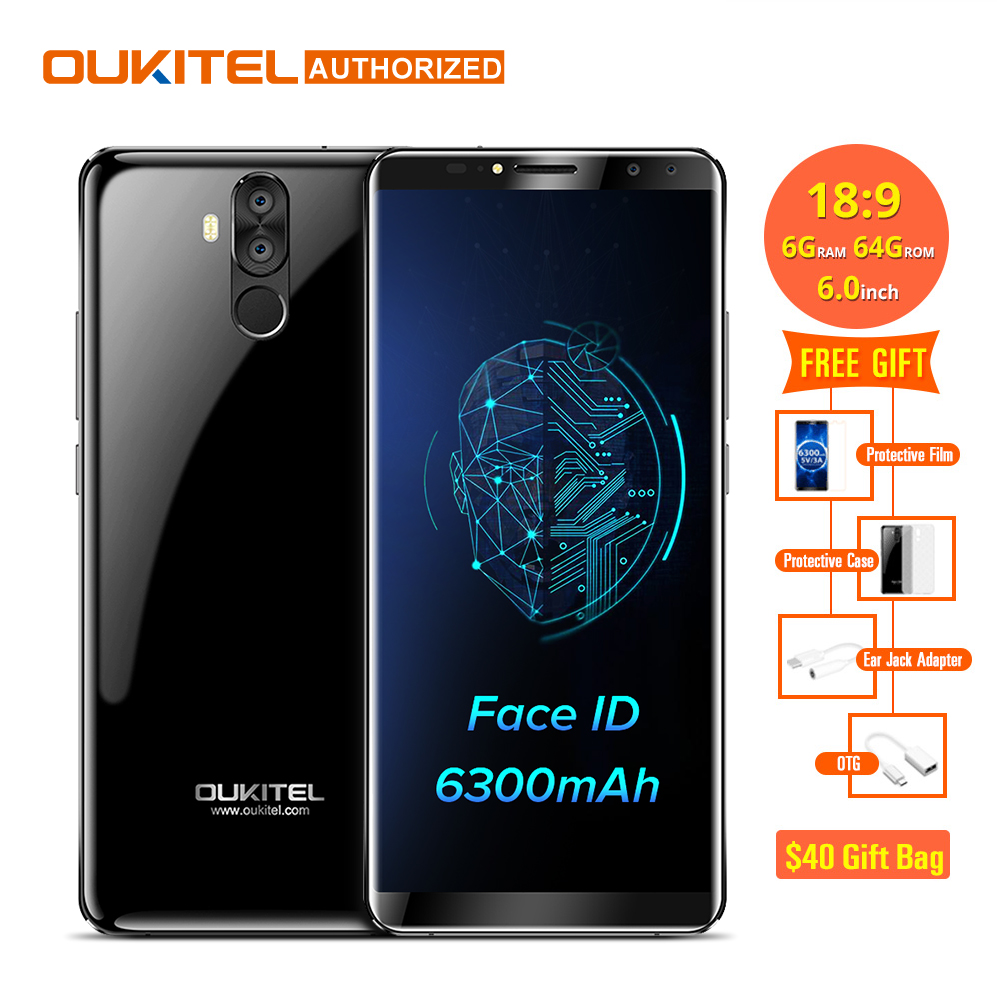 Oukitel K6 18:9 6,0 ''FHD Display 6 GB RAM 64 GB ROM MTK6763 Octa-core 6300 mAh 5 V/3A Schnellladung Fingerprint 16MP 4 Cams Handy