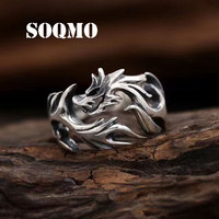 SOQMO 100% 925 Sliver New Fashion Jewelry Metal Solid Inside Dragon Rings Punk Rings Men SQM043