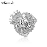AINOUSHI 925 Sterling Silver Wedding Engagement Lion King Face Head Ring Male Silver Anniversary Party Rings Jewelry pero llama