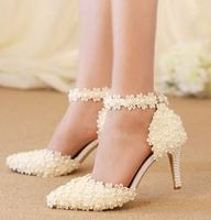 White Lace Flowers Pump Shoes Ankle Buckle Straps Point Toes Lady White Red Green Pink Lace