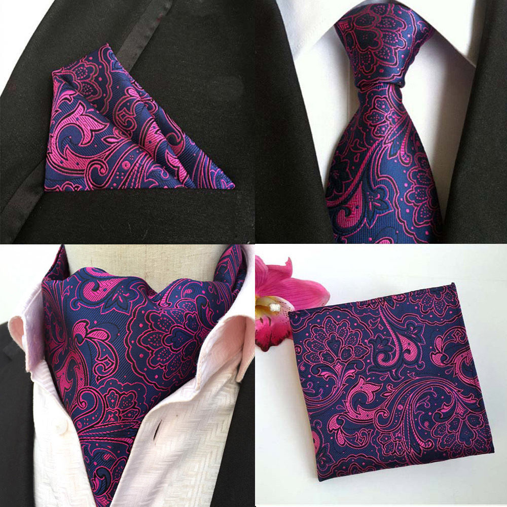 Mens Purple Pink Floral Paisley Silk Necktie Ascot Cravat Pocket Square Set Lot HZTIE0252