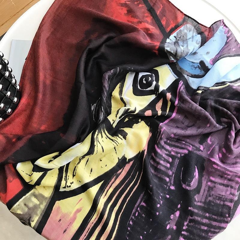 VICBOND 2018 New Fashion National Wind Cotton Shawl Sunscreen Scarf Female Blue Scrabble Printed Scarf hijab