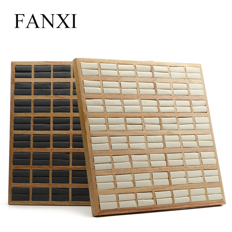 FANXI Decorative Solid Wooden Jewely Display Tray with Microfiber Insert for Rings Exhibition Jewelry Oganizer Rings Holder