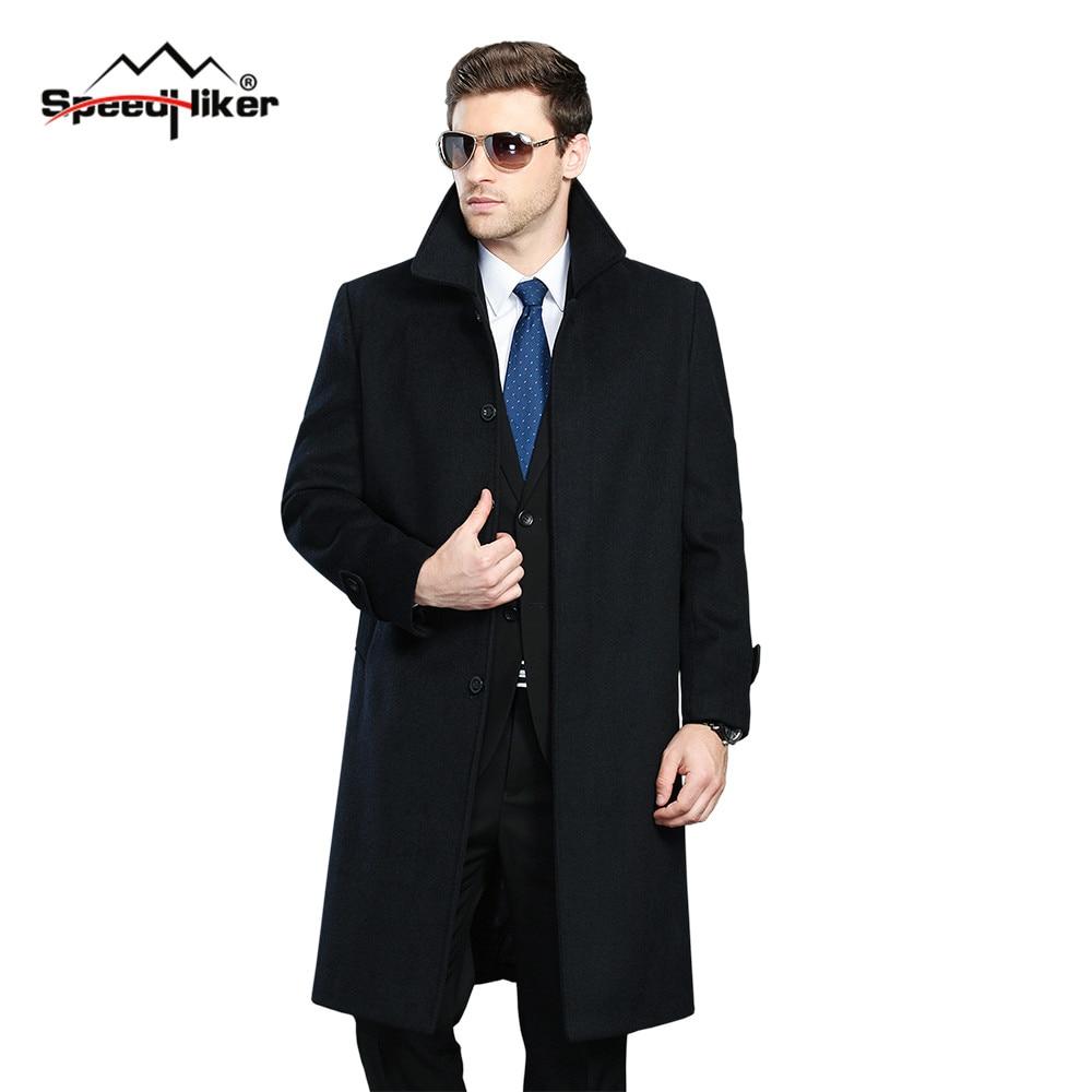 Men Winter Jacket Wool British Style Men Longer Section Woolen Coats Men Jackets Outerwear Warm Single Breasted Woolen 1305-1