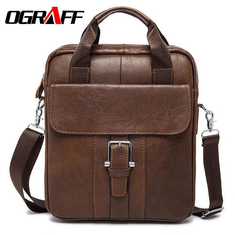 OGRAFF Genuine leather bag men messenger bags Handbag brand men Business Vintage Cowhide Men s Briefcase