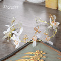 Korean bride headdress crystal leaf hair jewelry wedding wedding dress retro Baroque jewelry accessories
