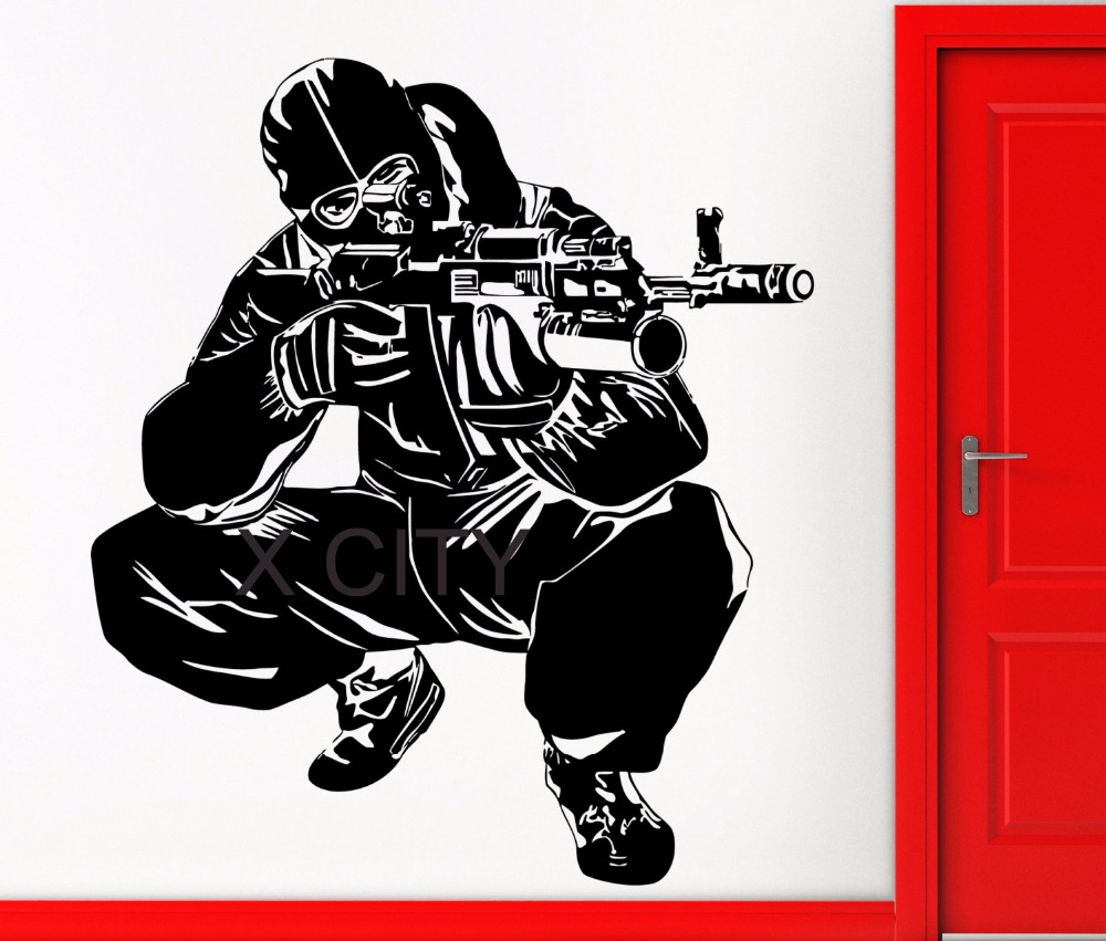 Detail feedback questions about soldier shooting army special forses ak 47 military wall art decal sticker die vinyl cut transfer stencil mural home room