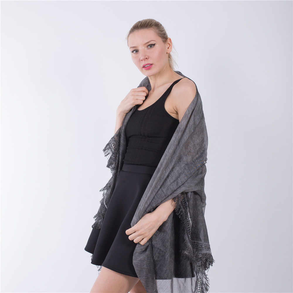 Jinjin QC 2019 New Fashion Women Scarves and Shawls Solid Women Beach Blue Gray With Fringe Echarpe Foulard Femme Drop Shipping in Women 39 s Scarves from Apparel Accessories