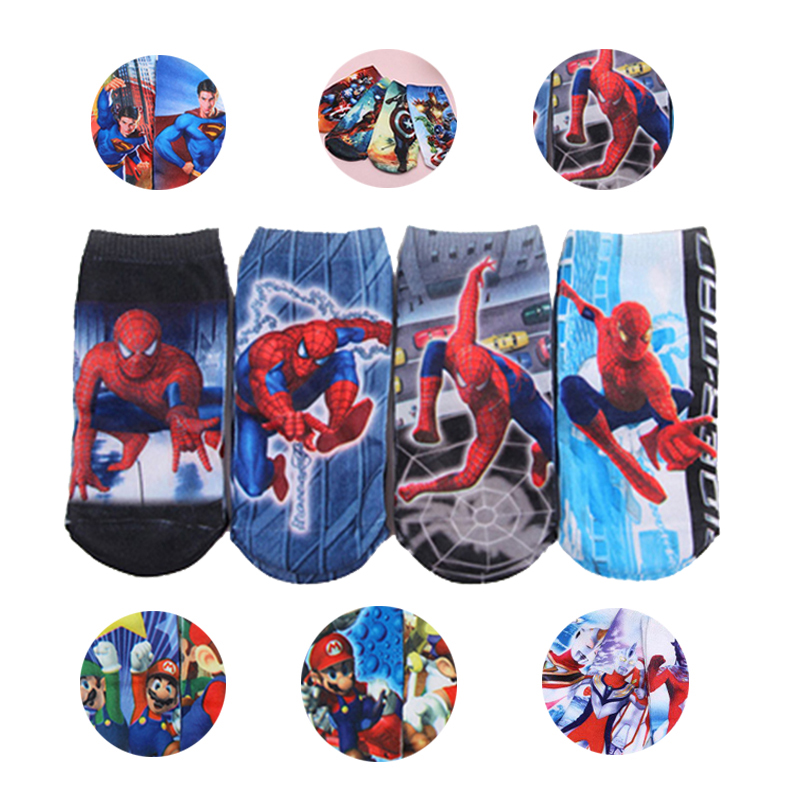 4 Pairs Boys Kids Cartoon Socks Infant Newborn Socks  Iron Man SpiderMan Socks Captain America Baby Cotton Boat Socks Set 2-10 T