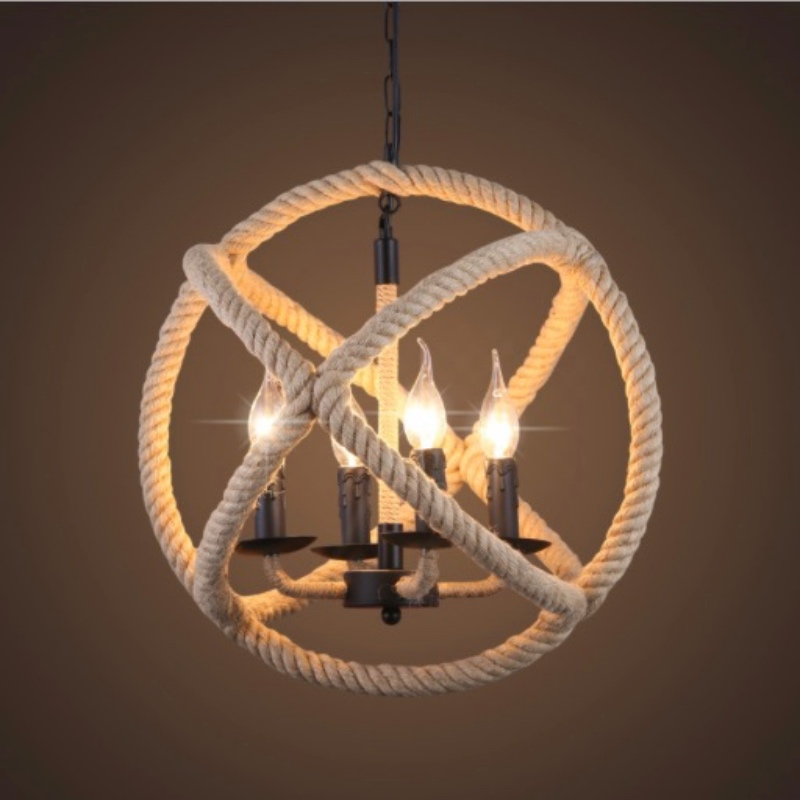 Vintage Industrial Country Handmade Hemp Rope E27 Chain Pendant Light for Dining Room Restaurat Coffee Bar Dia 35/45/55cm 1657 vintage industrial american country black iron hemp rope led e27 pendant light for restaurat coffee bar dia 30 40cm 1656