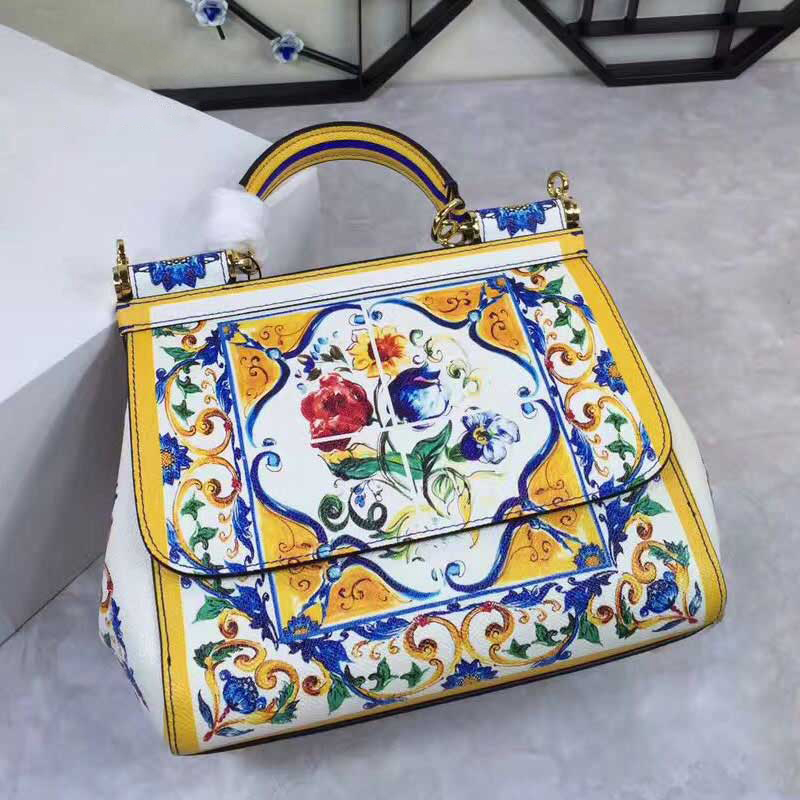 Luxury Women Tote Bags, Blue and White Porcelain Flowers Print Handbag, Genuine Leather Shoulder Bags, Cow Skin Hasp Women's Bag rdywbu 2017 luxury genuine cow leather tote handbag women s colourful flowers patch shoulder bag plaid sewing messenger bag b291