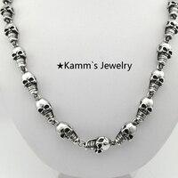 9 mm homens colar Punk jóias crânio de aço inoxidável 316L Biker cadeia de KN271
