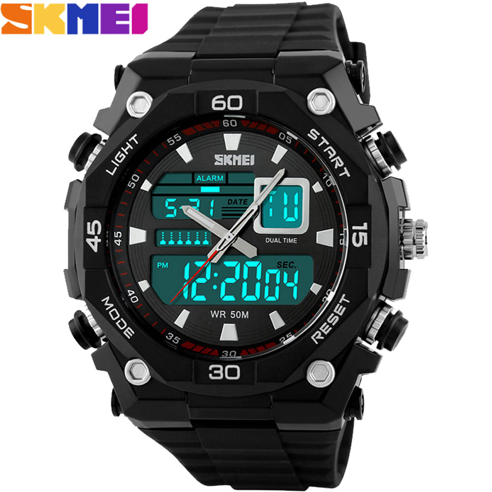 SKMEI 2017 Brand men Sports Watches digital LED display chronograph multiple time zone 50M waterproof swim